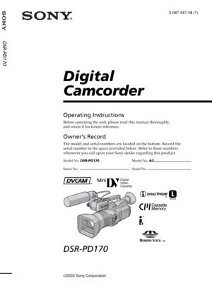 Sony Digital Camcorder DSR PD170 Operating Instructions