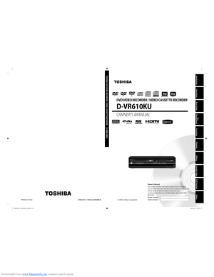 Toshiba Dvr610 User Manual