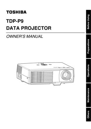 Toshiba Projector Tdp P9 User Manual