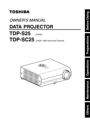 Toshiba Projector Tdp S25 User Manual