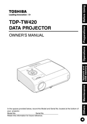 Toshiba Tdp T420u Projector User Manual