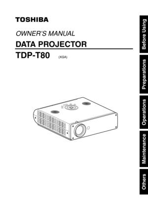 Toshiba Tdp T80 Projector User Manual