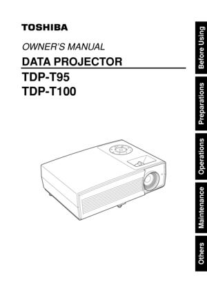 Toshiba Tdp T95u Projector User Manual