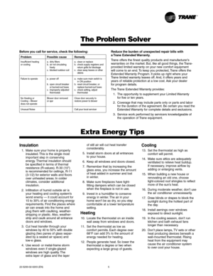 Trane Xe 1000 Owners Manual
