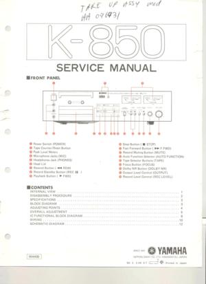 Yamaha K 850 Service Manual