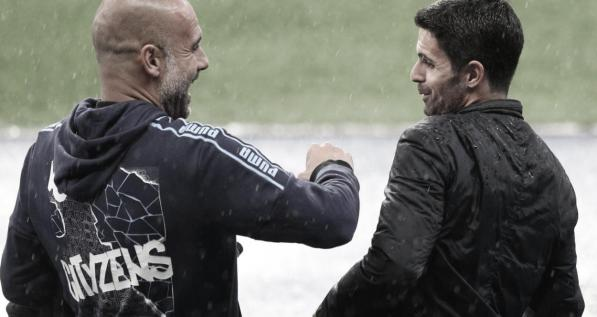 Guardiola and Arteta.  Photo: Premier League.