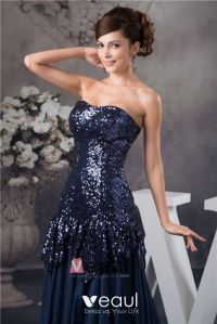 2015 Bling Sequined Strapless Ruffle Long Prom Dress ...