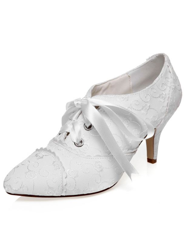 3 Inch Wedding Shoes : wedding, shoes, Vintage, Satin, Wedding, Shoes, Stiletto, Heels, Embroidered, Bridal