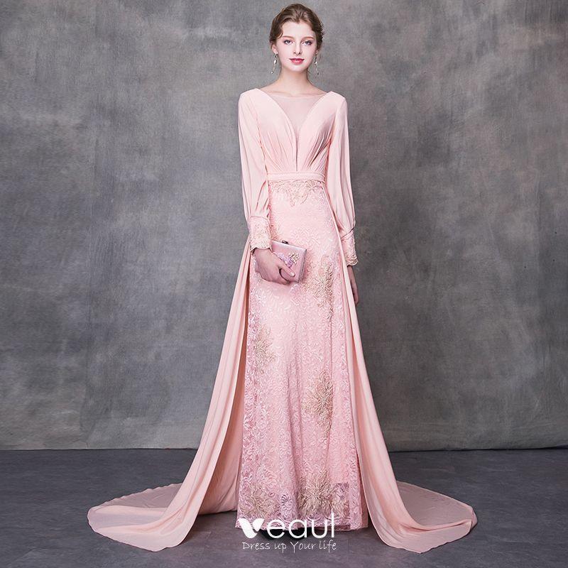 6bdac753c Maravilloso Perla Rosada Traspasado Vestidos De Noche 2018 A Line