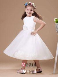 Romantic Ivory Satin Flower Girl Dress - Flower Girl ...