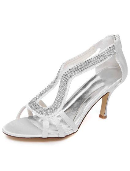 3 Inch Wedding Shoes : wedding, shoes, Sparkly, White, Wedding, Sandals, Stiletto, Heels, Bridal, Shoes, Rhinestone