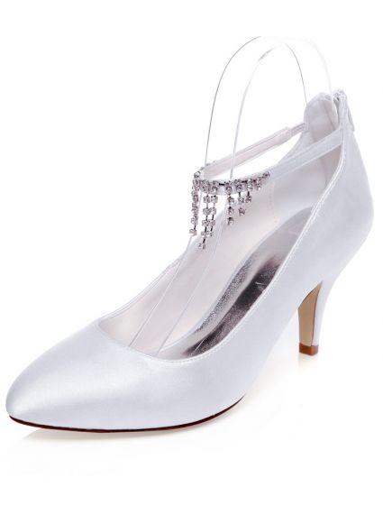 3 Inch Wedding Shoes : wedding, shoes, Vintage, Satin, Wedding, Shoes, Stiletto, Heels, Pumps, White, Bridal, Ankle, Strap, Tassel