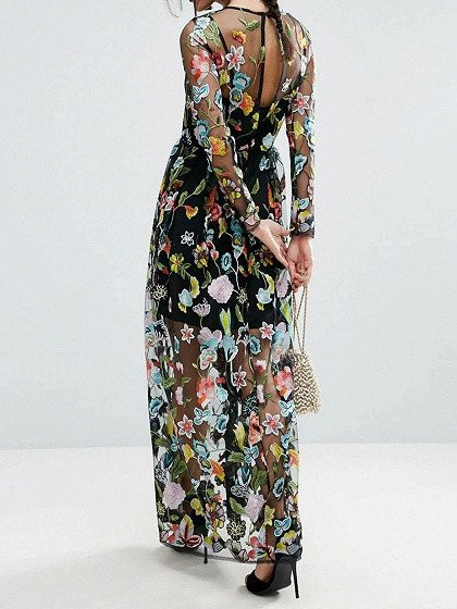 Black Embroidery Floral Long Sleeve Sheer Mesh Maxi Dress  victoriaswing