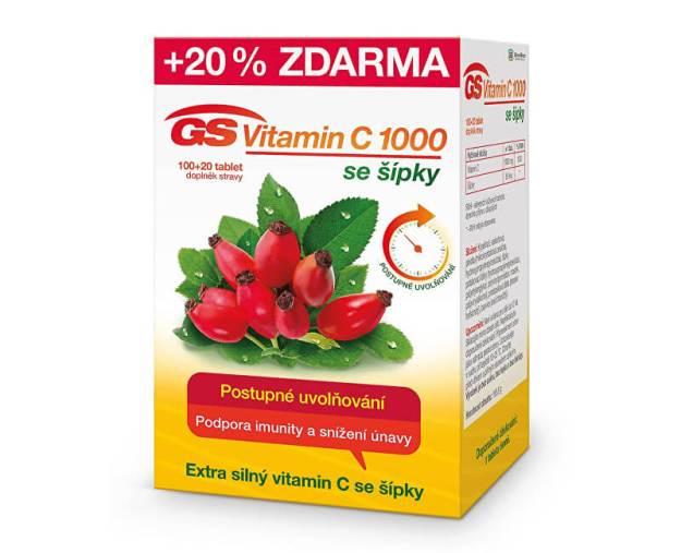 GS Vitamin C 1000 + šípky 100 tbl. + 20 tbl. ZDARMA (z49843) od www.prozdravi.cz