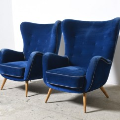 Navy Blue Velvet Slipper Chair Folding Chairs To Sit On The Floor Large With Ottoman Wool Wrap Pouf Cb2 Vitra Eames