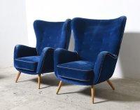 Set of two Large Oversized Italian Blue Velvet Wing Back ...