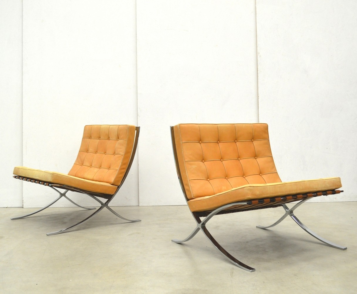 Barcelona Lounge Chair Set Of 2 Barcelona Lounge Chairs From The Seventies By