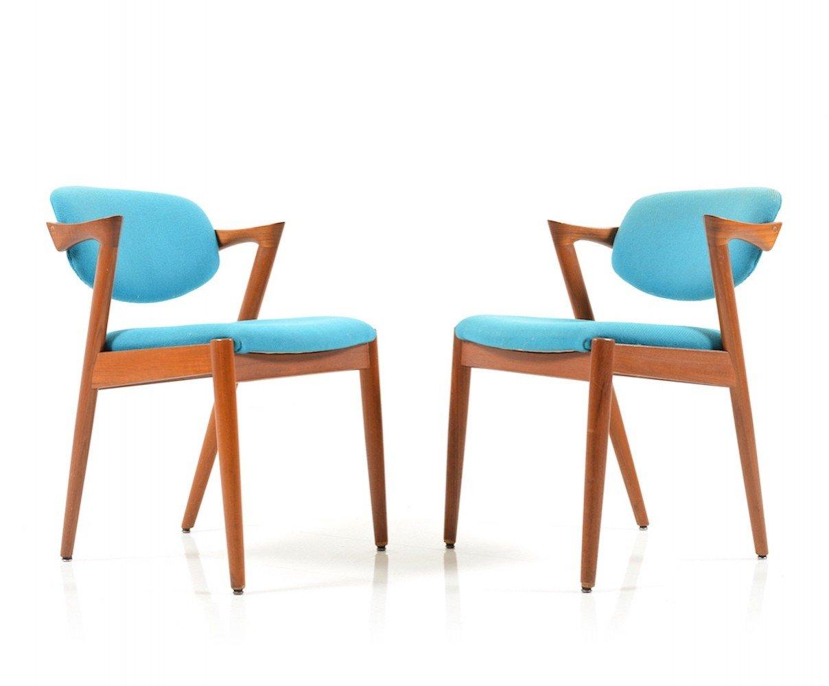 Pair of mid Century Teak Kai Kristiansen Dining Chairs