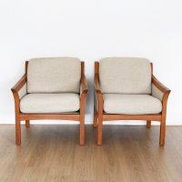 Pair of mid century Danish teak chairs with wool fabric ...
