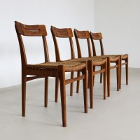Scandinavian dinner chairs made of wood & rope, 1960s   #65856
