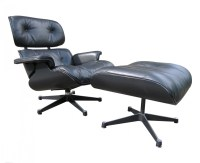Eames lounge chair + ottoman black on black Herman Miller ...