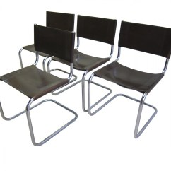Metal Frame Leather Dining Chair Straight Back Covers Brown With Steel Tubular Chairs By
