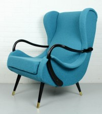 Lounge chair with classic blue boucle fabric (Knoll Aegean ...