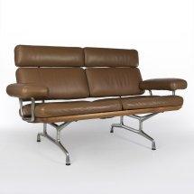 Original Herman Miller Vintage Tan And Teak Eames Sofa