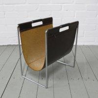 Mid-Century Brabantia Magazine Rack in Leather & Chrome ...