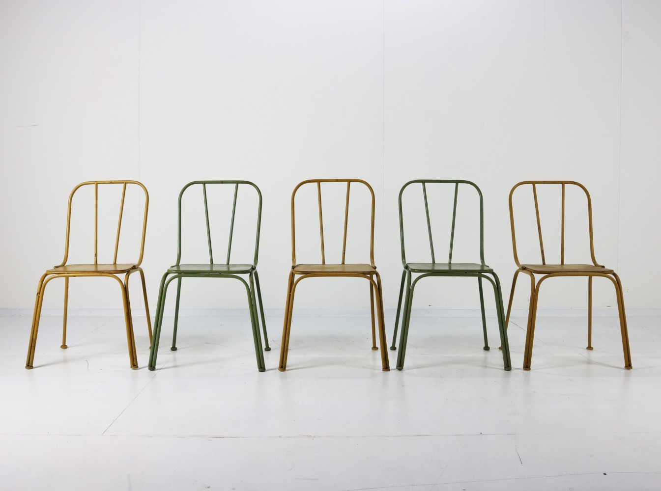 green metal bistro chairs hairdresser chair dimensions set of 5 yellow denmark 1950s 93382 seating dining