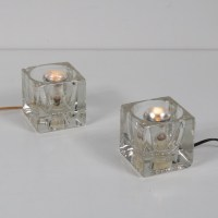 Pair of Cube glass table lamps by Putzler, 1960s | #93905