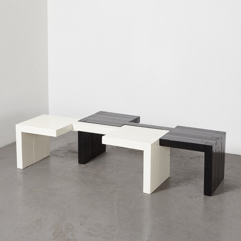 modular set of asymmetrical benches or coffee tables 1970s