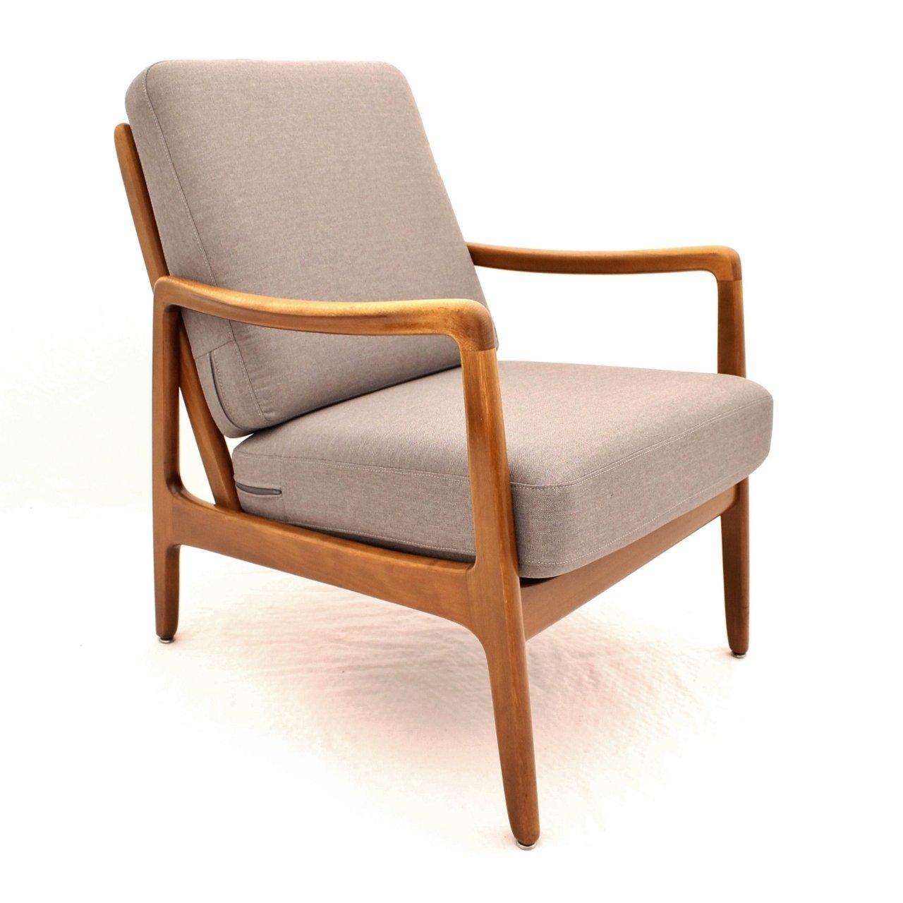 Danish design beech FD109 lounge chair in silver grey