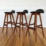 Set Of Three Vintage Original Danish Teak Rosewood Counter Bar Stools By Erik Buch In New Leather 51771
