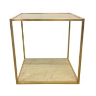 Brass coffee table with marble & glass shelves, 1970s | #63079