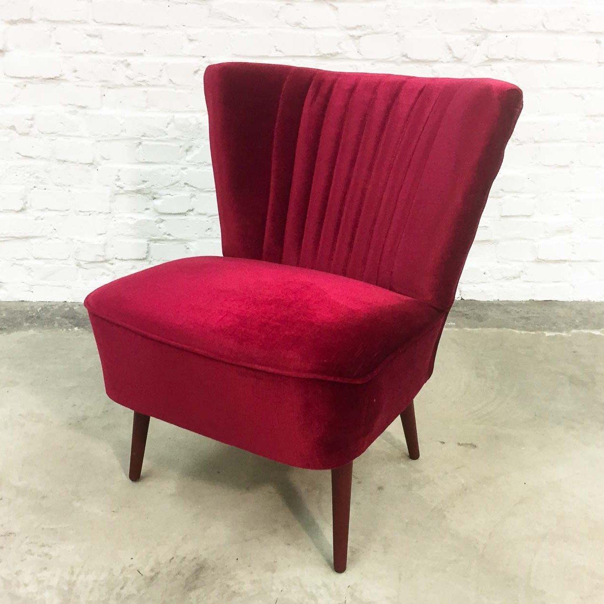 Cherry Red Velvet Cocktail Chair 1960s  66517