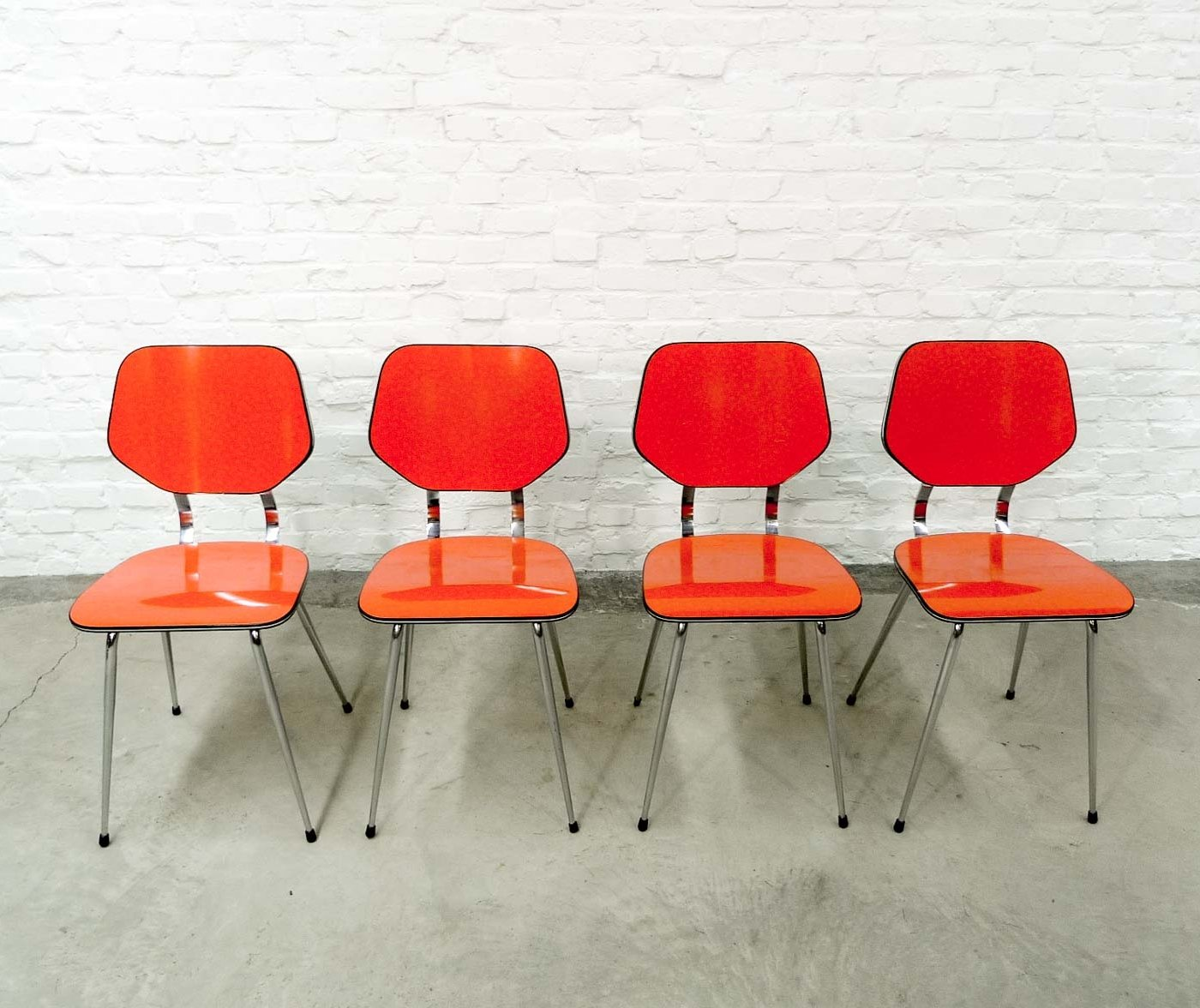 Set Of 4 Kitchen Chairs Set Of 4 Bright Orange Brabantia Kitchen Chairs 1960s
