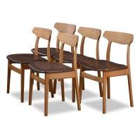 Set of 5 Danish design oak/leather Henning Kjaernulf ...