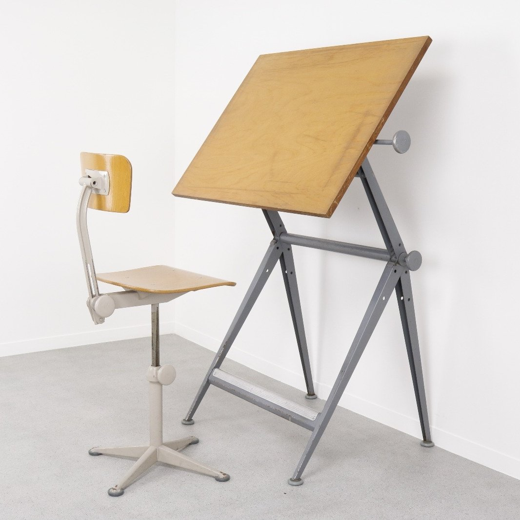 drafting table chairs living room with accent 43 chair by friso kramer and wim rietveld for