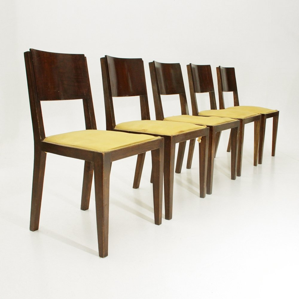Art Deco Dining Chairs Set Of 5 Italian Wooden Art Deco Dining Chairs 1940s