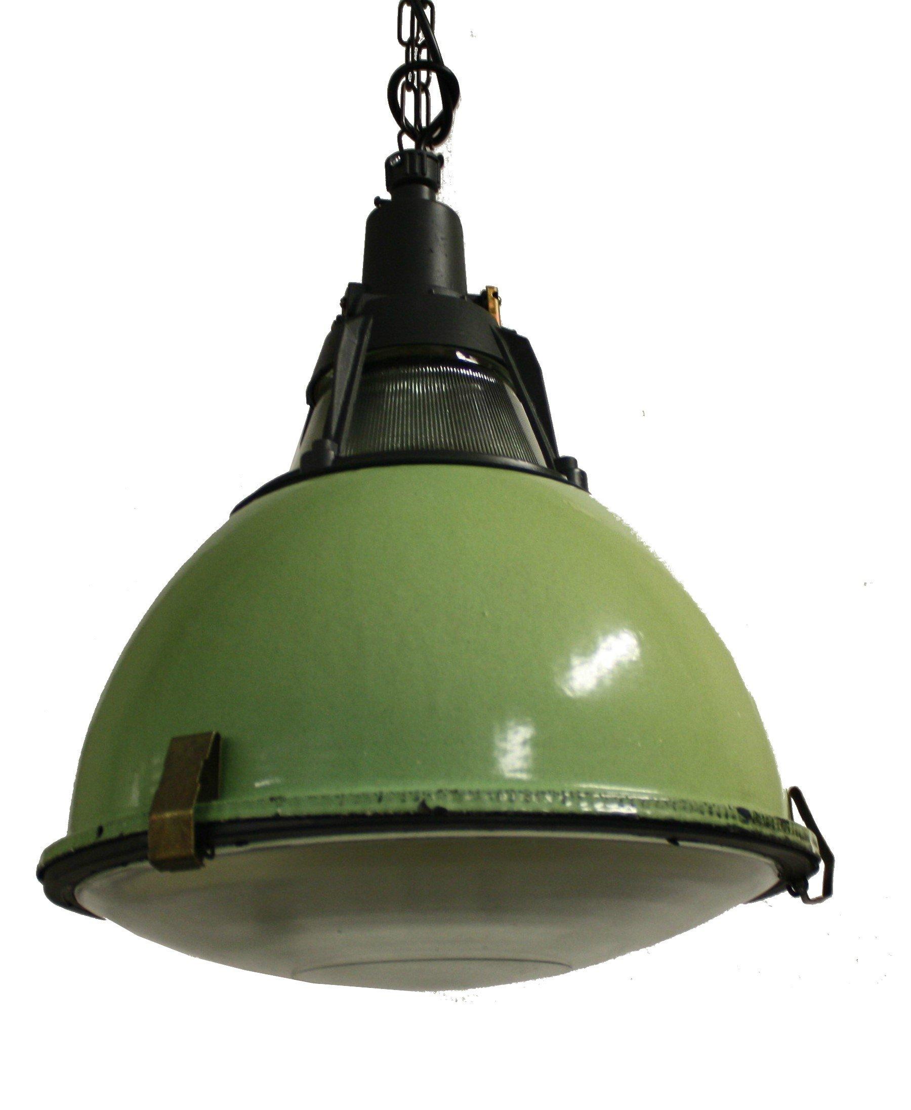 Vintage Green Enamel Industrial Pendant Lights With Glass 80099