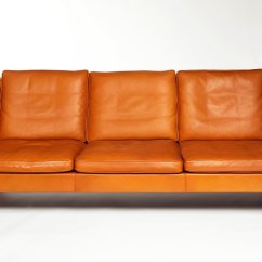 Borge Mogensen Sofa Model 2209 Bed Made In Uk Orange Leather Three Seat By 1960s 83065