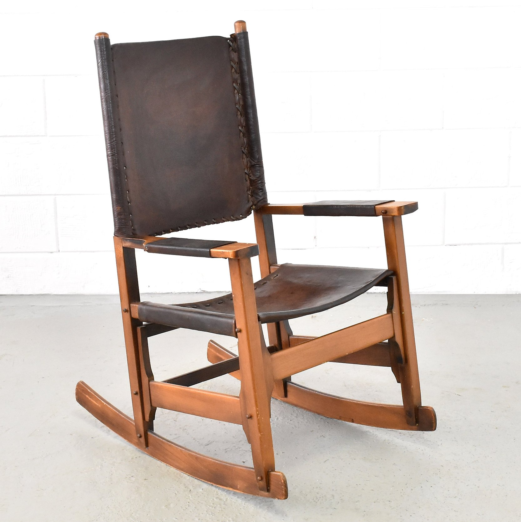 Leather Rocking Chair Patinated Leather Rocking Chair Produced By Arte Sano 1960s