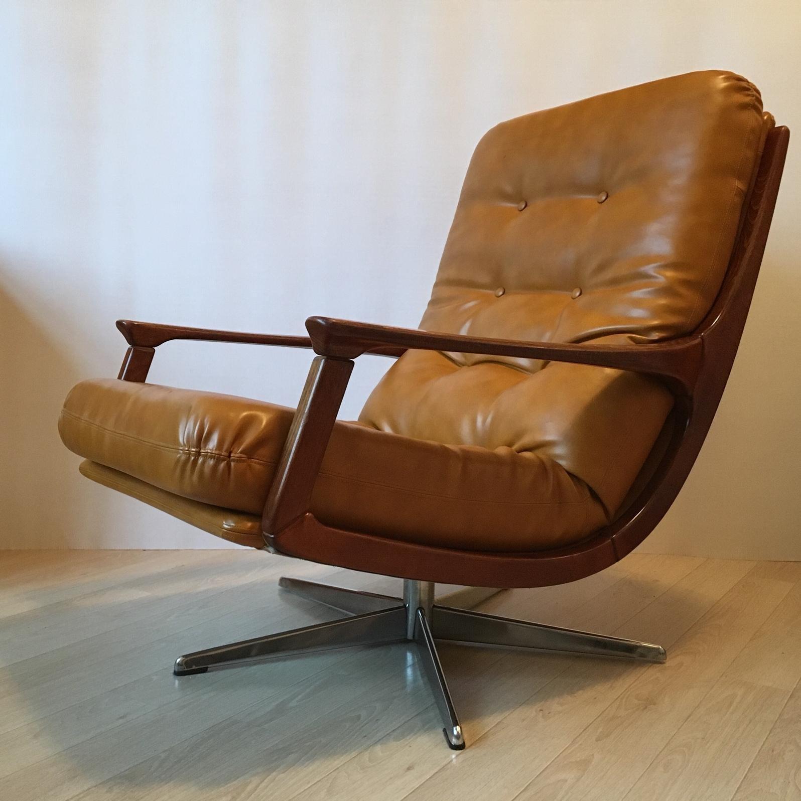 modern leather swivel lounge chair cane bottom rocking midcentury german camel