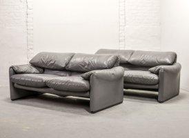 Italian Design Leather Maralunga Sofas by Vico Magistretti ...