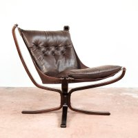 Falcon Chair in brown leather by Sigurd Ressell for Vatne ...
