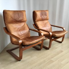 Poang Chairs Wheelchair Emoji Meme Pair Of Vintage Cognas Leather By Noboru Nakamura For Ikea 1999 93219