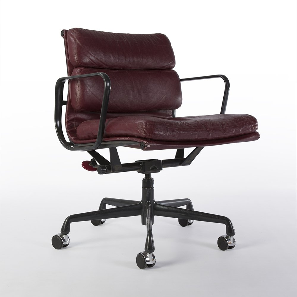 Eanes Chair Burgundy Herman Miller Original Eames Ea435 Soft Pad Office Chair