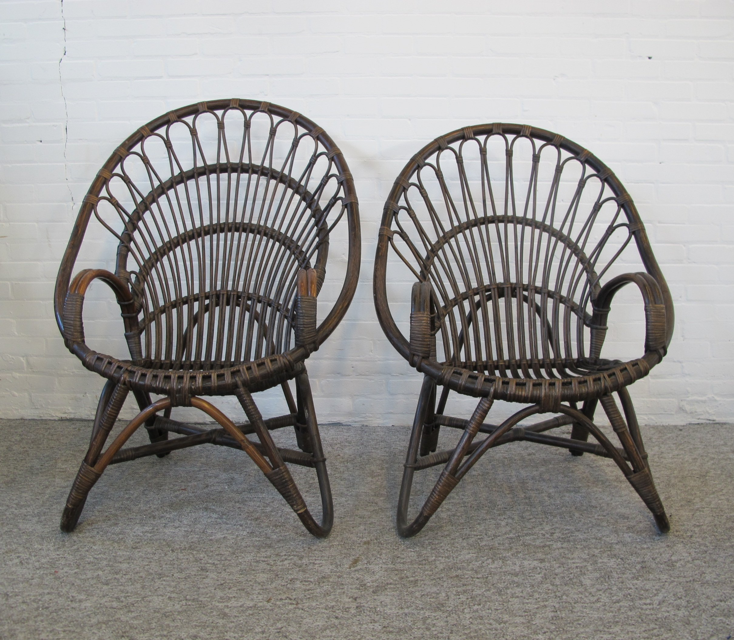 Bamboo Chairs Pair Of Mid Century Rattan Bamboo Chairs 1970s