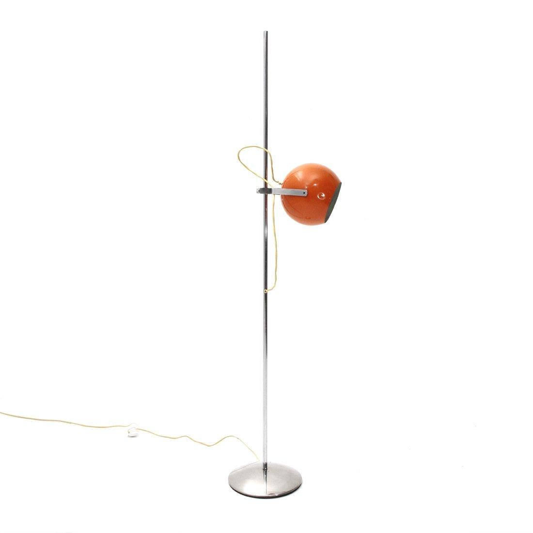 Mid Century Floor Lamp With Orange Shade By Reggiani 1970s